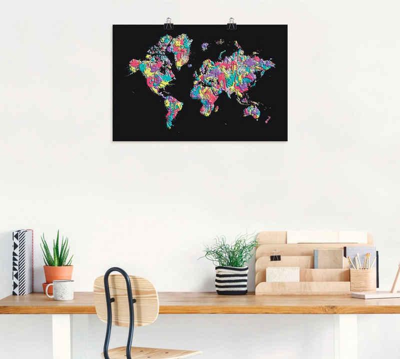 Artland Wandbild »POP ART Weltkarte schwarz«, Landkarten (1 Stück), in vielen Größen & Produktarten - Alubild / Outdoorbild für den Außenbereich, Leinwandbild, Poster, Wandaufkleber / Wandtattoo auch für Badezimmer geeignet