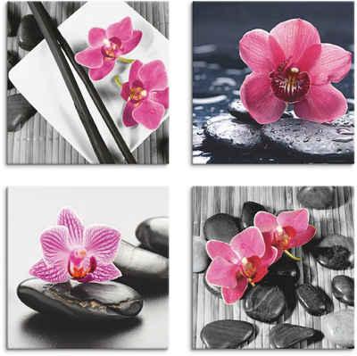 Artland Leinwandbild »Asiatische Komposition Orchidee Zen«, Zen (4 Stück)