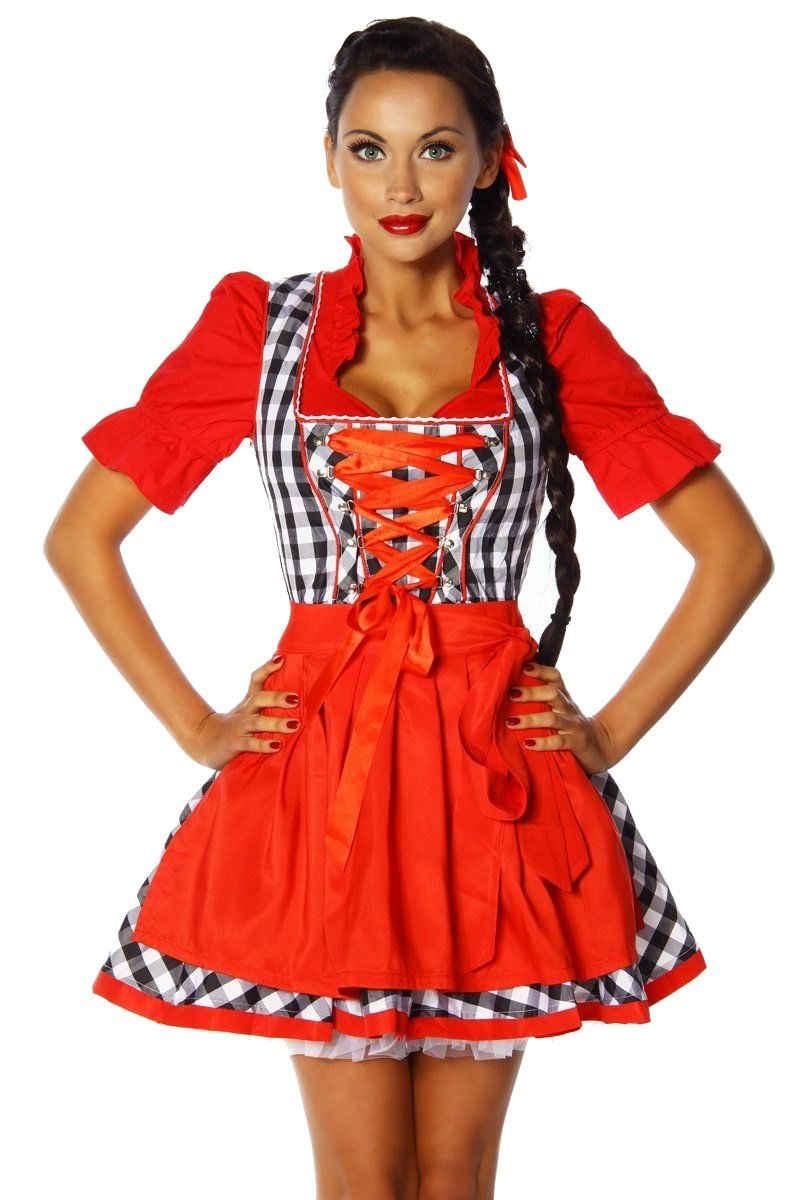 MARKENLOS Dirndl »2-tlg. Traditionelles Trachten Set: Mini Dirndl mit Schürze, kariert Oktoberfest«