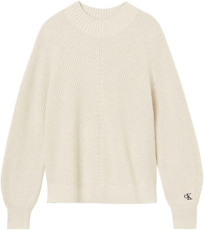 Calvin Klein Jeans Rundhalspullover »CHEVRON PREMIUM COTTON SWEATER« mit kleiner CK Logo-Monogramm Stickerei auf dem Ärmel