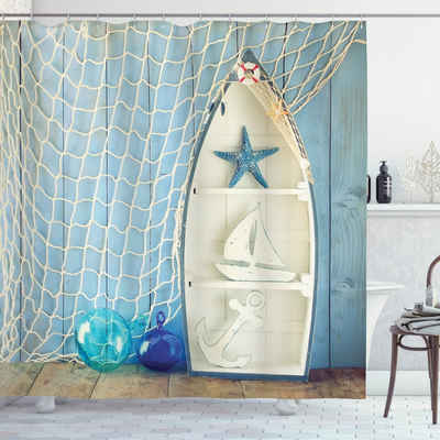 Abakuhaus Duschvorhang »Moderner Digitaldruck mit 12 Haken auf Stoff Wasser Resistent« Breite 175 cm, Höhe 180 cm, Nautisch marine Seestern