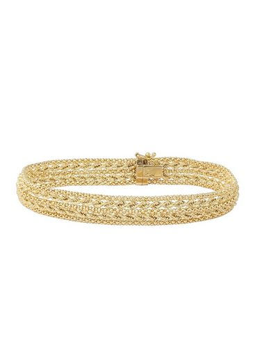 Firetti Armband »in Fantasiekettengliederung, Gelbgold, glänzend, 10 mm breit«