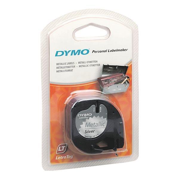 Dymo LetraTAG-Beschriftungsband in schwarz auf silbe...