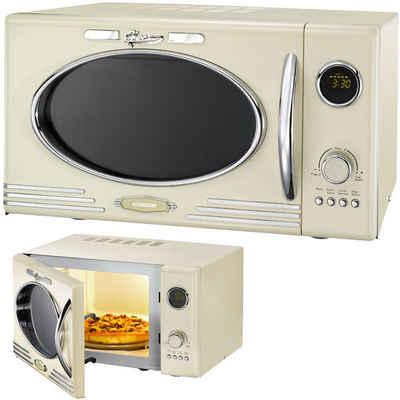 MELISSA Mikrowelle 16330089 Retro Classico Mikrowelle 900 Watt 25 Liter Garraum, Design Mikrowelle mit Grill 1000 Watt Creme/Beige, Grill, 25 l