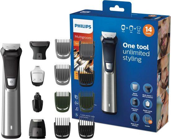 Philips Multifunktionstrimmer MG7745/15, All-in-One Trimmer, 14-in-1 für Gesicht, Körper und Kopfhaare