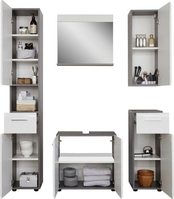 Badezimmer Sets - trendteam Badmöbel Set »Skin«, (Set, 5 tlg), Badezimmerschränke mit Fronten in Hochglanz oder Holzoptik  - Onlineshop OTTO