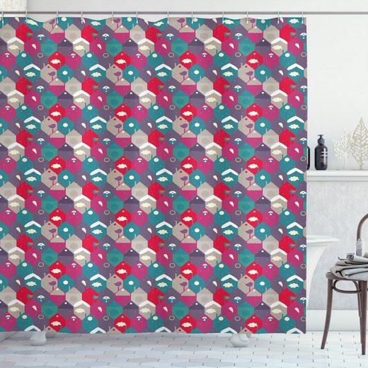 Abakuhaus Duschvorhang »Moderner Digitaldruck mit 12 Haken auf Stoff Wasser Resistent« Breite 175 cm, Höhe 180 cm, Winter Pastell in Hexagons