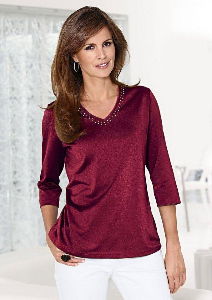 Lady Shirt mit funkelnden Strass-Steinchen in dunkelrot