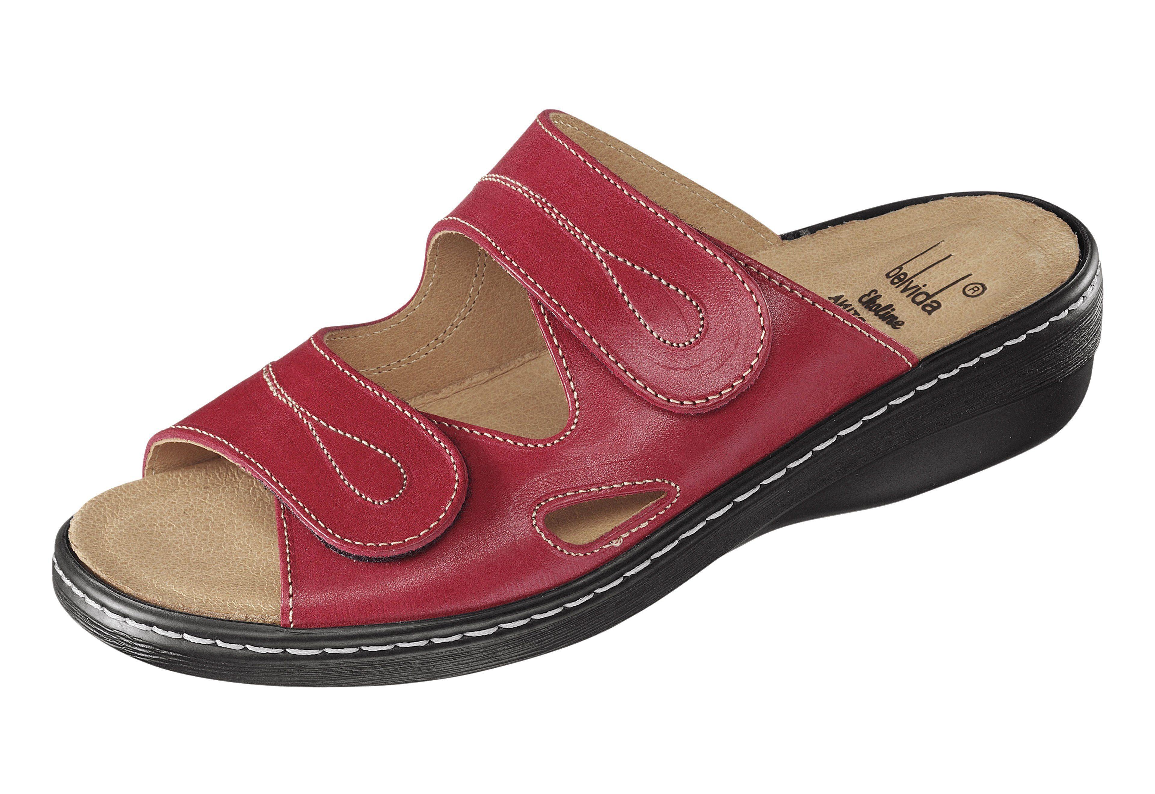 Pantolette mit gelenkschonendem Fußbett kaufen  rot