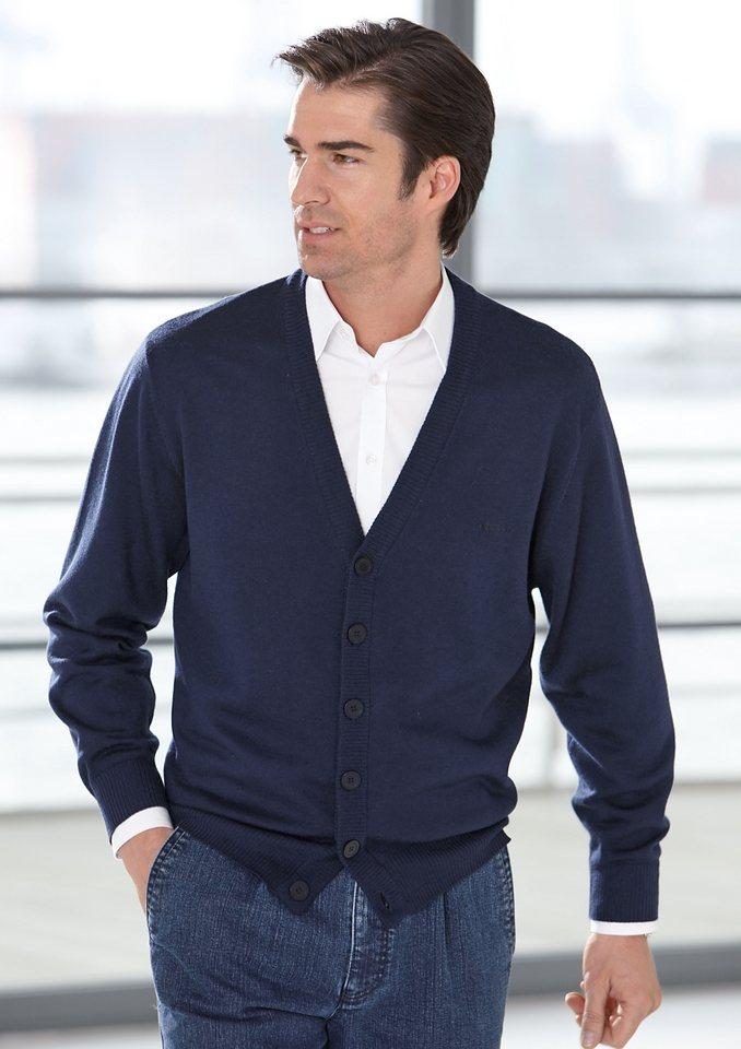 J. Witt Collection Cardigan aus extra feiner, reiner Merinowolle in jeansblau