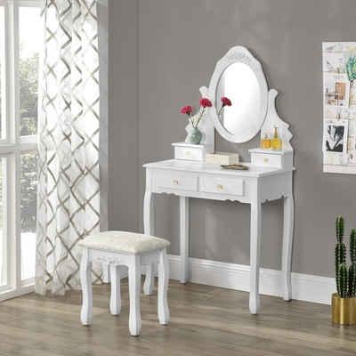 en.casa Schminktisch (3-St), »Beveren« Frisierkommode mit Schublade Spiegel und Hocker