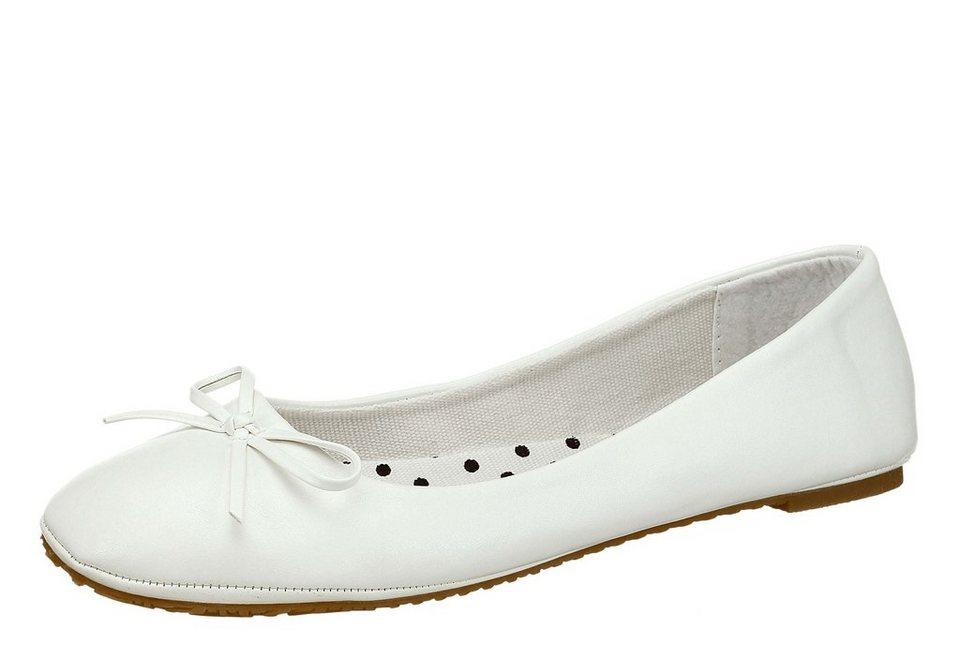 City Walk Ballerina aus Lederimitat mit Schleife in weiß