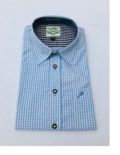 Trachtenrebell Trachtenhemd »Hemdtrachtenhemd hellblau kariert,Langarm,leicht zum krempeln«
