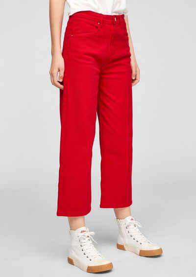 s.Oliver 7/8-Jeans »Regular Fit: Gefärbte Culotte« Leder-Patch