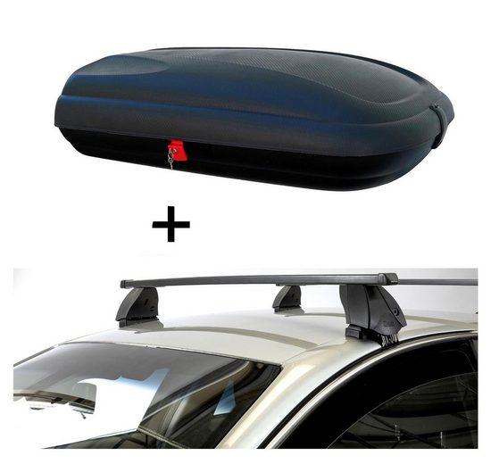 VDP Fahrradträger, Dachbox VDPBA320 320 Liter carbonlook abschließbar + Dachträger K1 MEDIUM kompatibel mit Opel Agila (A) (5Türer) 00-07