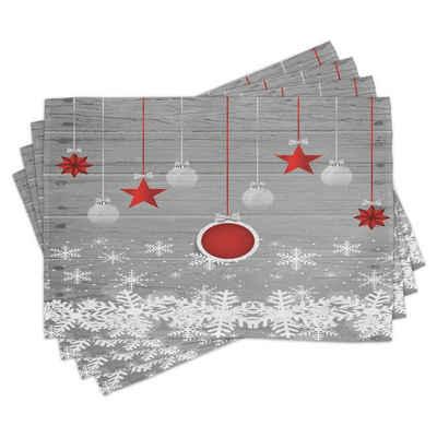 Platzset, »Waschbare Stoff Esszimmer Küche Tischdekorations Digitaldruck«, Abakuhaus, (4-teilig, 4 Teilig-St., Set aus 4x), Weihnachten Sterne-Flitter Schnee