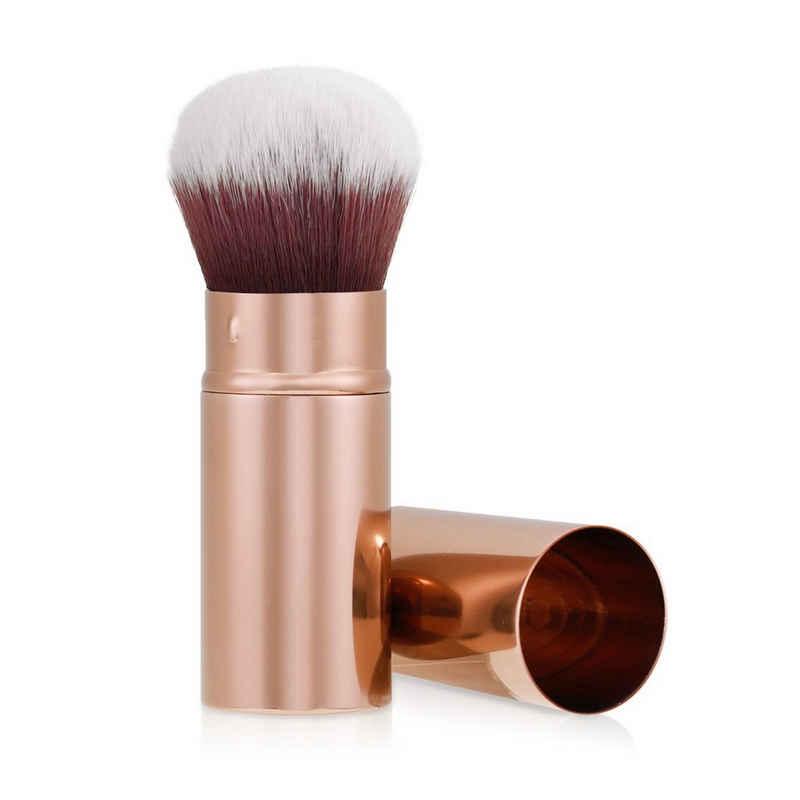 Navaris Kabuki-Pinsel, Make-Up Pinsel - einziehbarer Reise Schminkpinsel mit Deckel - Gesicht Kosmetikpinsel Reisepinsel - vegan hyperallergen