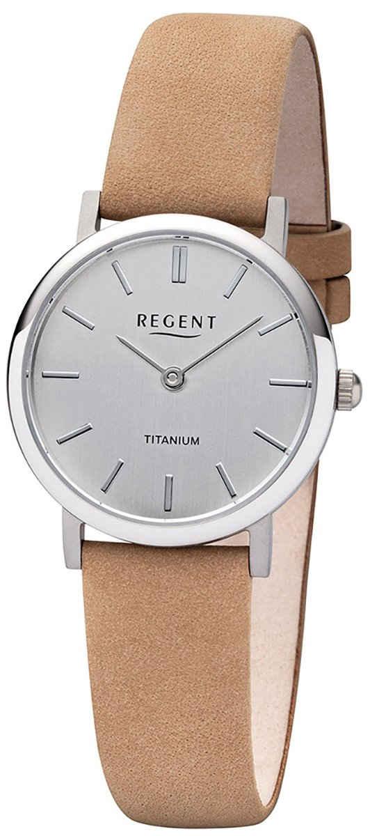 Regent Quarzuhr »URF1223 Regent Damen Uhr F-1223 Leder Quarz«, (Analoguhr), Damen Armbanduhr rund, Lederarmband braun