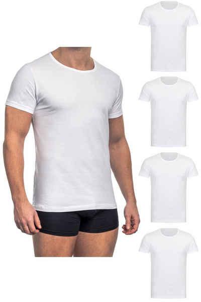 Barrio 13 Unterhemd »T-Shirt Business mit Kurzarm und Rundhals für Herren aus Baumwolle« (4 Stück), Feinripp aus 100% Baumwolle