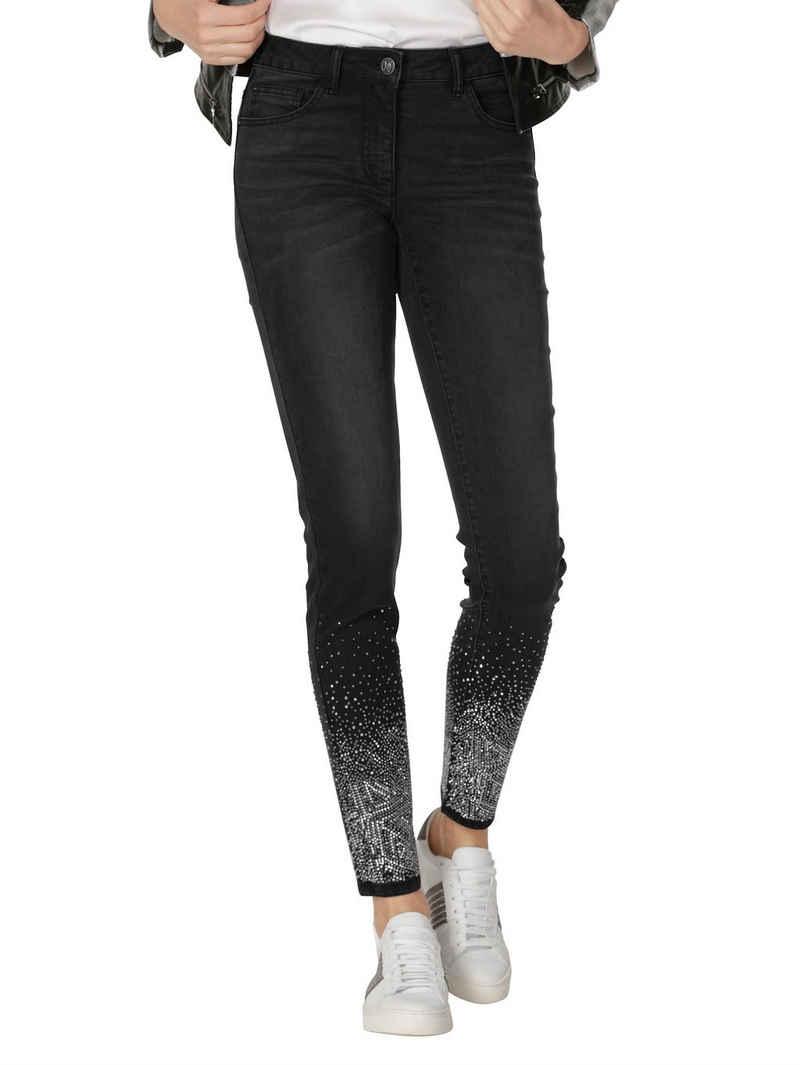 Amy Vermont 5-Pocket-Jeans mit Glitzer am Saum