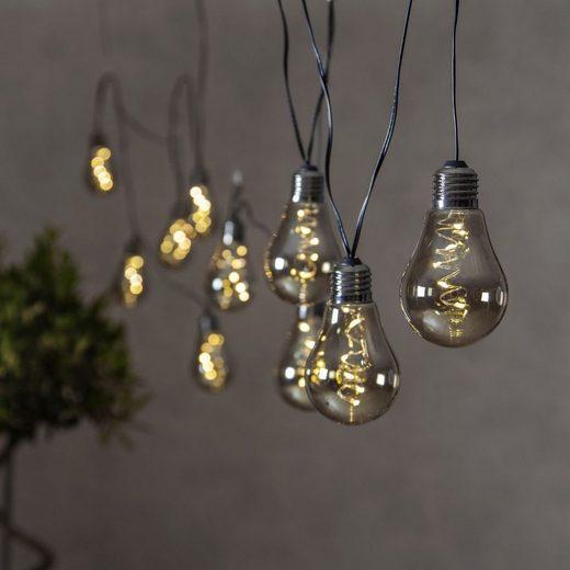 STAR TRADING LED-Lichterkette »LED Party Lichterkette Glow - 10x 5 LED Glühbirnen - L: 3,6m Indoor rauchig grau«, 10-flammig