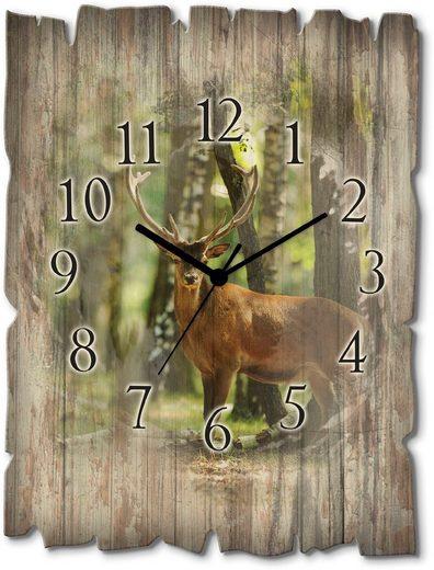 Artland Wanduhr »Hirsch 4 - Wald« (lautlos, ohne Tickgeräusche, nicht tickend, geräuschlos - wählbar: Funkuhr o. Quarzuhr, moderne Uhr für Wohnzimmer, Küche etc. - Stil: modern)