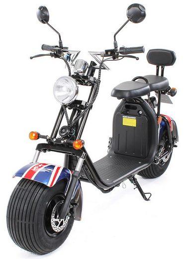 eFlux E-Bike »Chopper Two Elektroroller«, 1500 W, E-Scooter mit Straßenzulassung
