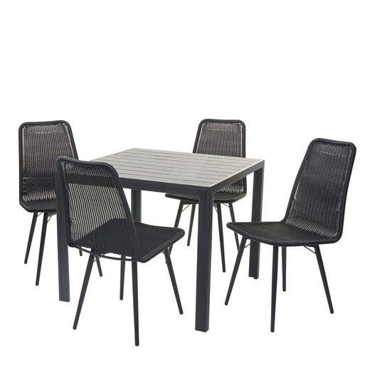 MCW Sitzgruppe »MCW-F90-5«, (Set, 5er Set), Belastbarkeit 120kg, pflegeleicht, Witterungs- und UV-Beständig