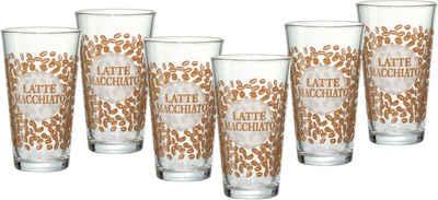 Ritzenhoff & Breker Latte-Macchiato-Glas »Happy, Coffee Beansq«, Glas, 400 ml, 6-teilig