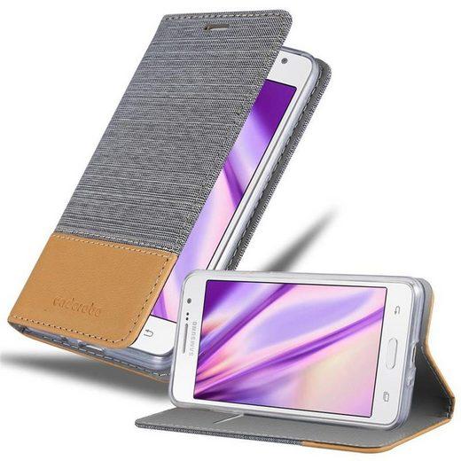 Cadorabo Handyhülle »Hülle case cover für« Samsung Galaxy GRAND PRIME, Magnetverschluss, Standfunktion und Kartenfach, Kunstleder, Klapphülle
