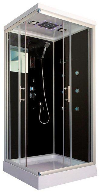 Duschen und Zubehör - HOME DELUXE Komplettdusche »Wave S«, BxT 90x80 cm, Sicherheitsglas, 1 tlg., mit Radio und LED Beleuchtung  - Onlineshop OTTO
