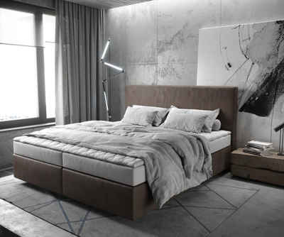 DELIFE Boxspringbett »Dream-Well«, Lederimitat Dunkelbraun 180x200 cm mit Matratze und Topper