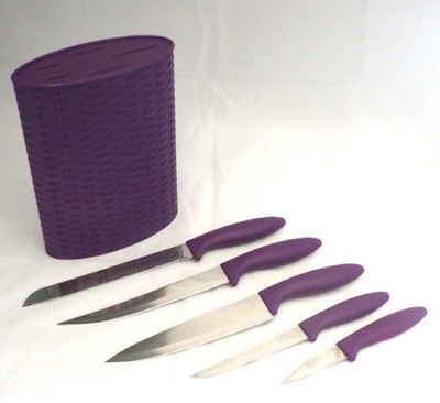 JOKA international Messerblock »Messer-Set 6tlg. - mit Messerblock in lila oder rot«