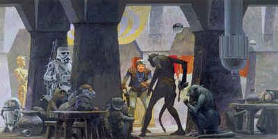Komar Fototapete »Star Wars Classic RMQ Mos Eisley Streets«, glatt, futuristisch, mehrfarbig, Weltall, (Packung)
