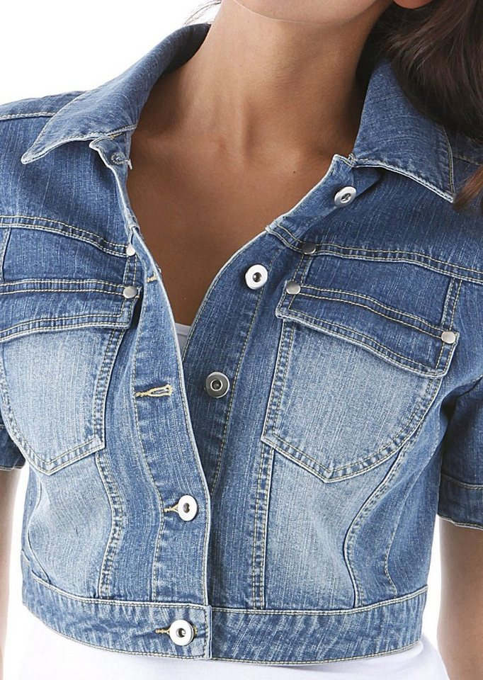 Damen Aniston by BAUR Jeansjacke in Used-Washung blau | 08940001992107