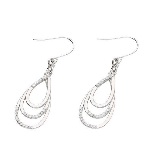 Smart Jewel Paar Ohrhaken »Tropfen 3 fach durchbrochen mit Zirkonia Steinen, Silber 925«