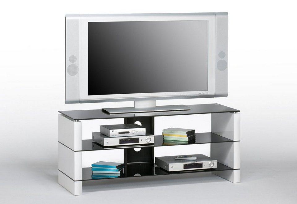 TV-Bank, Maja Möbel in weiß-Schwarzglas