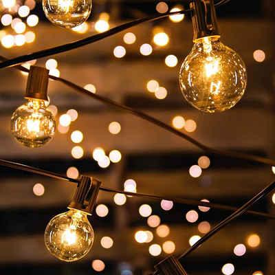 Avoalre Lichterkette, Lichterkette Glühbirnen IP65 Wasserfest, Avoalre G40 warmweiss 30 Glühbirnen Lichterkette außen, 10M Innen-/Aussenbeleuchtung (max. 50 M) Ausdehnbar Outdoor Lichterkette