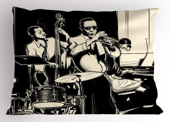 Abakuhaus Kissenbezug »Dekorativer Standard King Size Gedruckter Kissenbezug,«, Jazz Musik Band mit Instrumenten