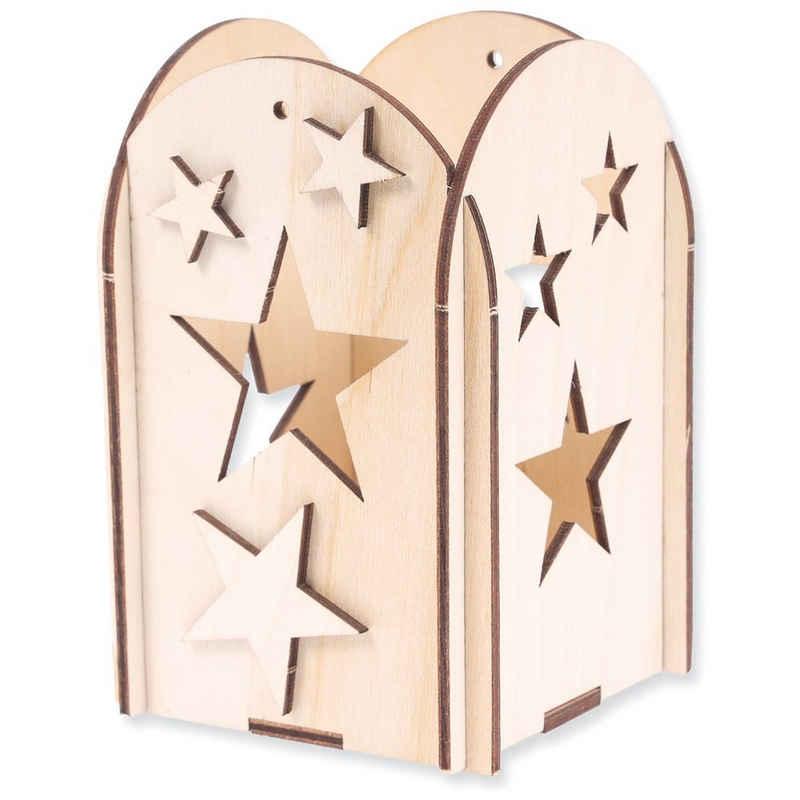 matches21 HOME & HOBBY Holzbaukasten »Steckbausatz Tischlaterne mit Sternen Kreativset Bausatz Holz«, Komplettes Material-Set, siehe Artikelbeschreibung