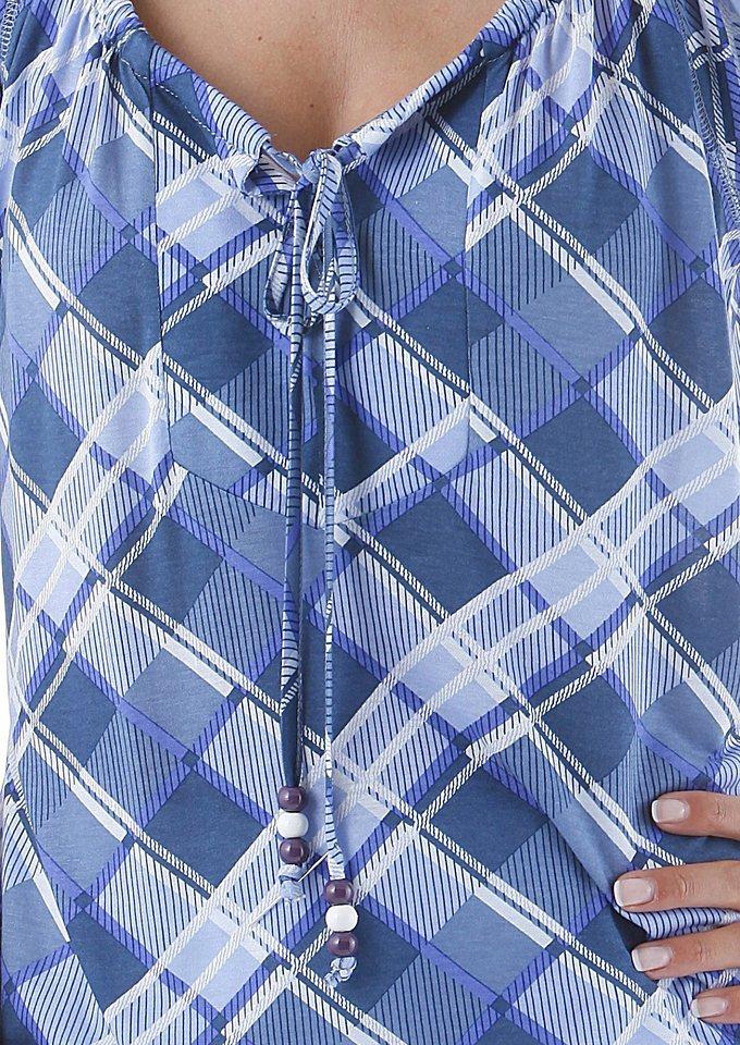 Cheer Rundhalsshirt in lila-blau-natur-kariert