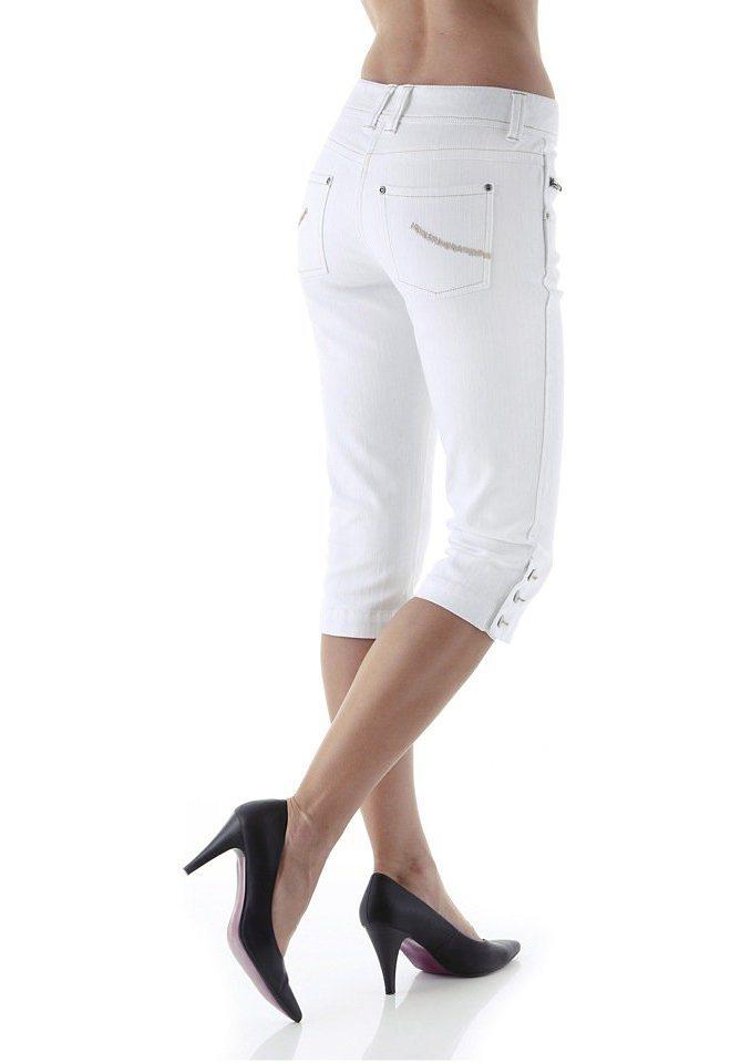 Cheer Caprijeans mit bestickten Gesäßtaschen in weiß