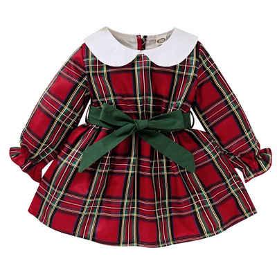 LAPA A-Linien-Kleid »Babymädchen Plaid Spleißen Langarm Weihnachtskleid«