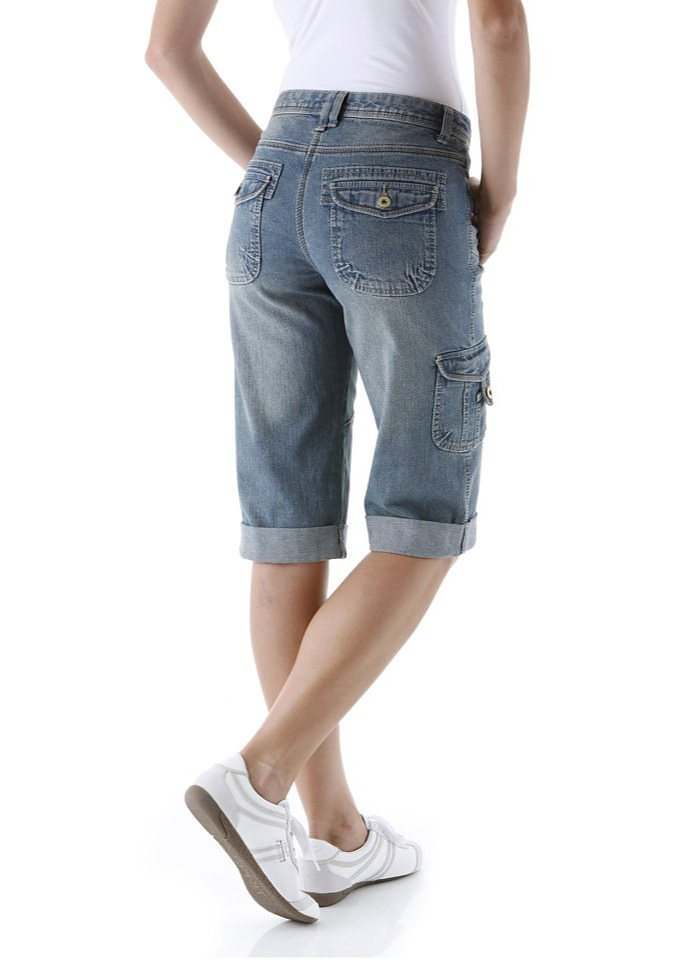 Cheer Jeansbermudas mit leichter Used-Waschung in blue-used