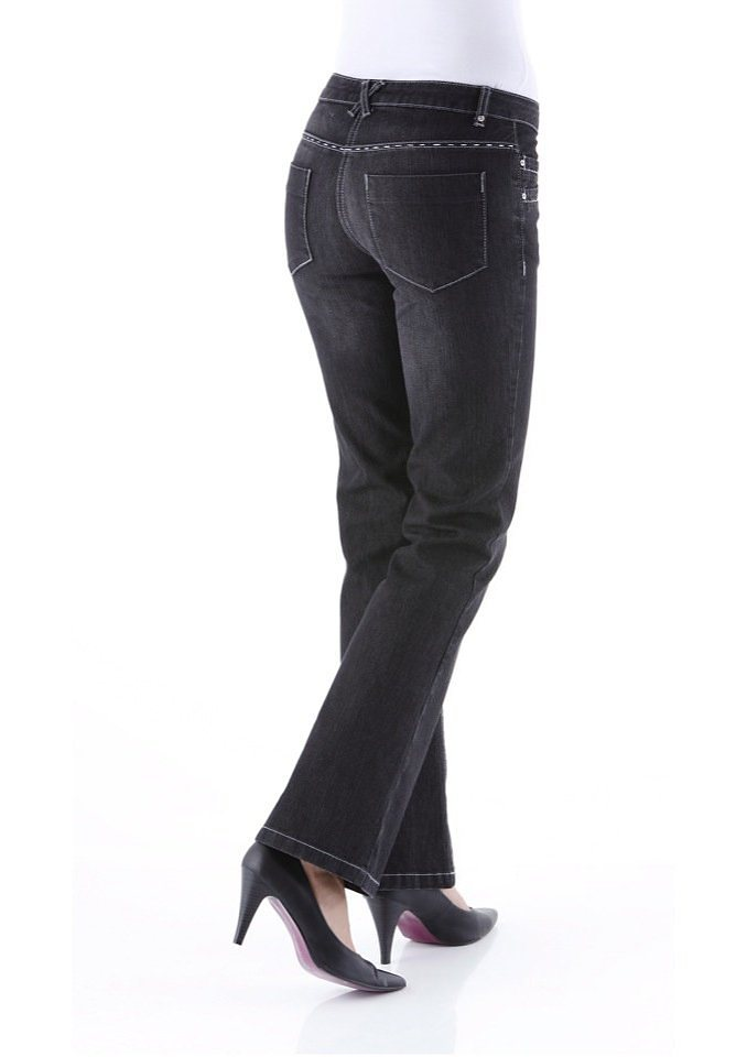Cheer Bootcut-Jeans »Chris« mit Glitzersteinchen in schwarz-denim