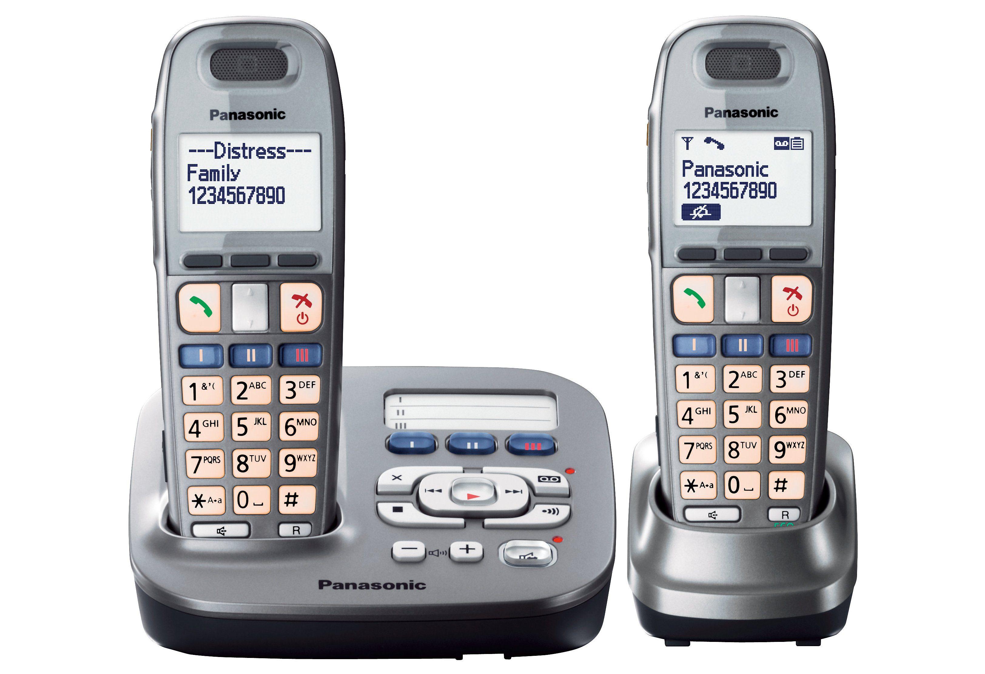 Panasonic KX-TG6592GM DUO Schnurloses DECT Telefon-Set mit AB