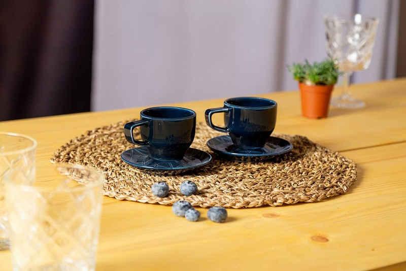Eschenbach Espressotasse »Kaleido«, Porzellan, 4-teilig, von Hand aufgebrachte Farbglasur, spülmaschinenfest