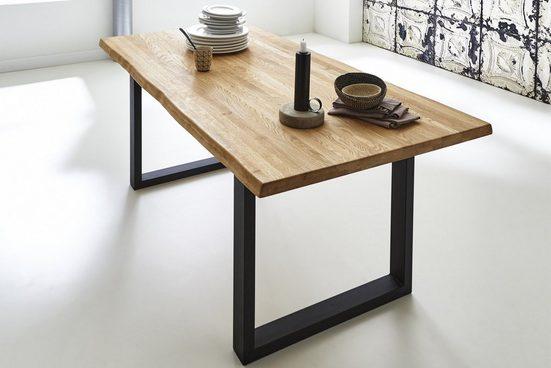 Junado® Baumkantentisch »Richard«, Wildeiche Massivholz naturfarben 35mm natürliche Baumkante Richard
