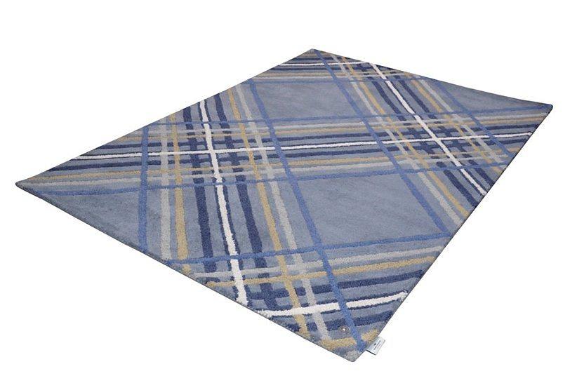 Teppich, Tom Tailor, »Large Check«, handgetuftet, reine Schurwolle in blau