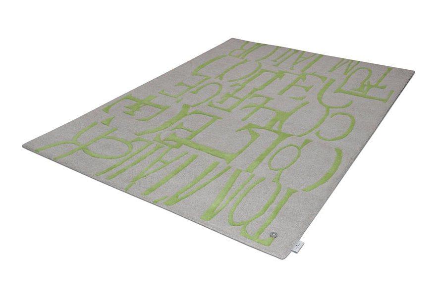 Teppich, Tom Tailor, »Letters«, handgetuftet, reine Schurwolle in grün